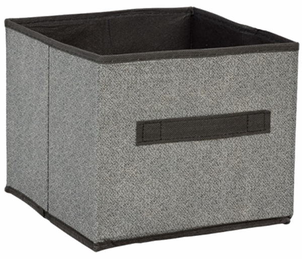 (2) Essentials Gray/blk-collapsible Storage Containers W/ Handles-9 X 9 X 8 In.