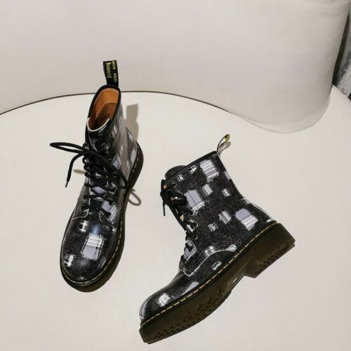 Details about  /Women Fashion Printed Leather Round Toe Lace Up Combat Biker Boots Shoes BGHE