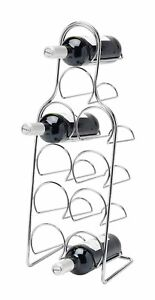 Pisa-independiente-de-metal-cromado-10-Botella-Botella-de-almacenamiento-de-informacion-Pie-De