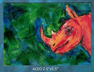 Original-ACEO-Rhino-Abstract-miniature-acrylic-painting-not-framed
