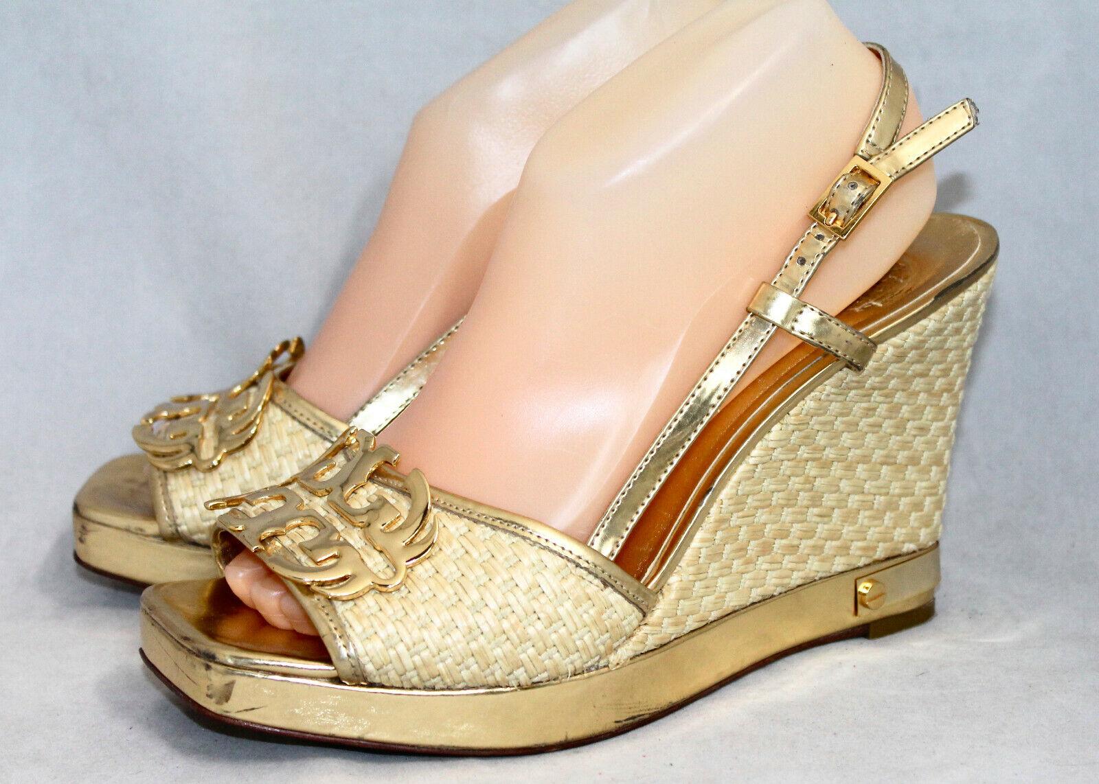 TORY BURCH Justin gold Straw Platform Wedge Heel Sandal Wo's 9M Open Toe