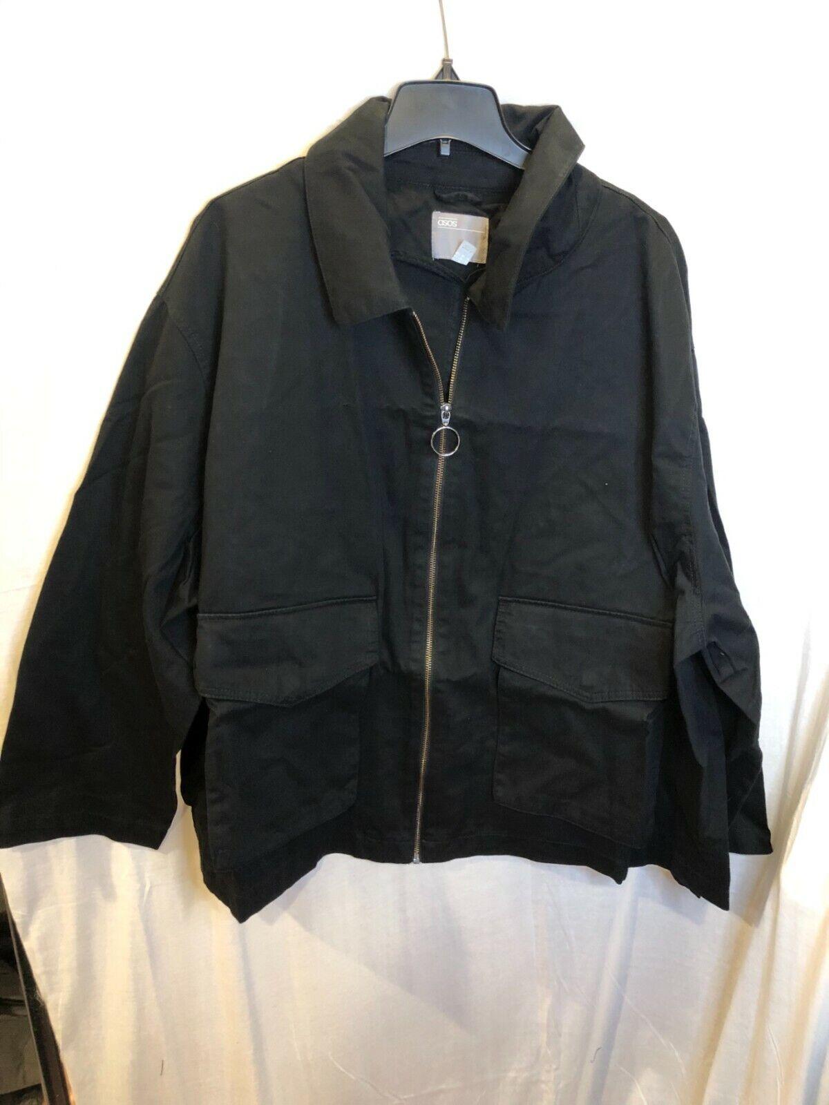 Asos Design Womens Black Curve Cotton Long Sleeves Casual Pocket Jacket Size 22