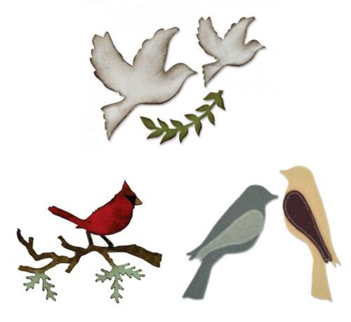 1 Stanzschablone Vögel Tiere Hochzeit-Tauben Sizzix Bigz