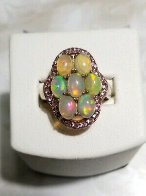 /'PJC/' Sterling Silver Rose Gold Toned Rose Quartz /& Pink Tourmaline Ring Size 5