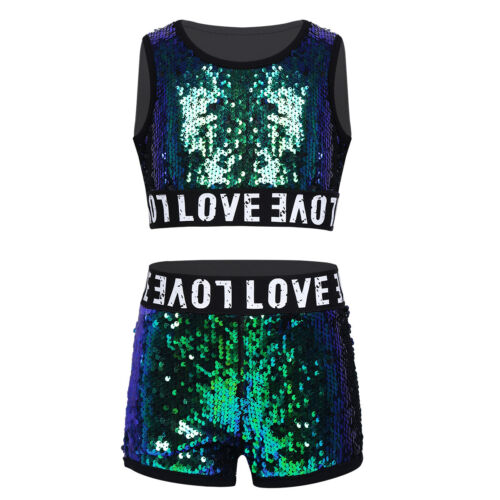 Girls Kids Street Dancewear Hip Hop Jazz Dance Costume Sequin Jacket Outfit Set