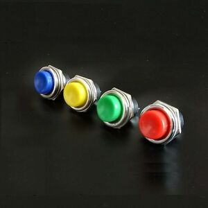4PCS DS-212 16mm 3A 125V Switch Push Round Button No Lock Red//Green//Yellow//Blue