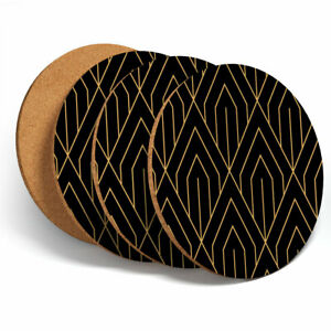 4 Set - Deco Pattern Gold Abstract Coasters - Kitchen Drinks Coaster Gift #12687