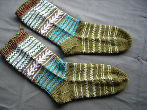 8.5''/11'' #689 Beautiful Vintage Handmade Woolen Socks 22cm/28cm Embroidery