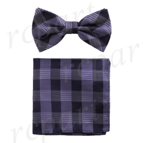 New Men/'s Plaids /& checkers Pre-tied Bow Tie /& Hankie Set Formal Party Lavender