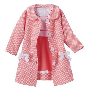 85cf58a74dee2 Bonnie Jean Little Girls Easter Holiday Coat Coral Dress Polka 2pc ...