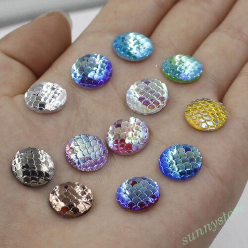 20//50//100X Sirène écailles de poisson CABOCHON Bead Jewelry Making Supplies Craft À faire soi-même