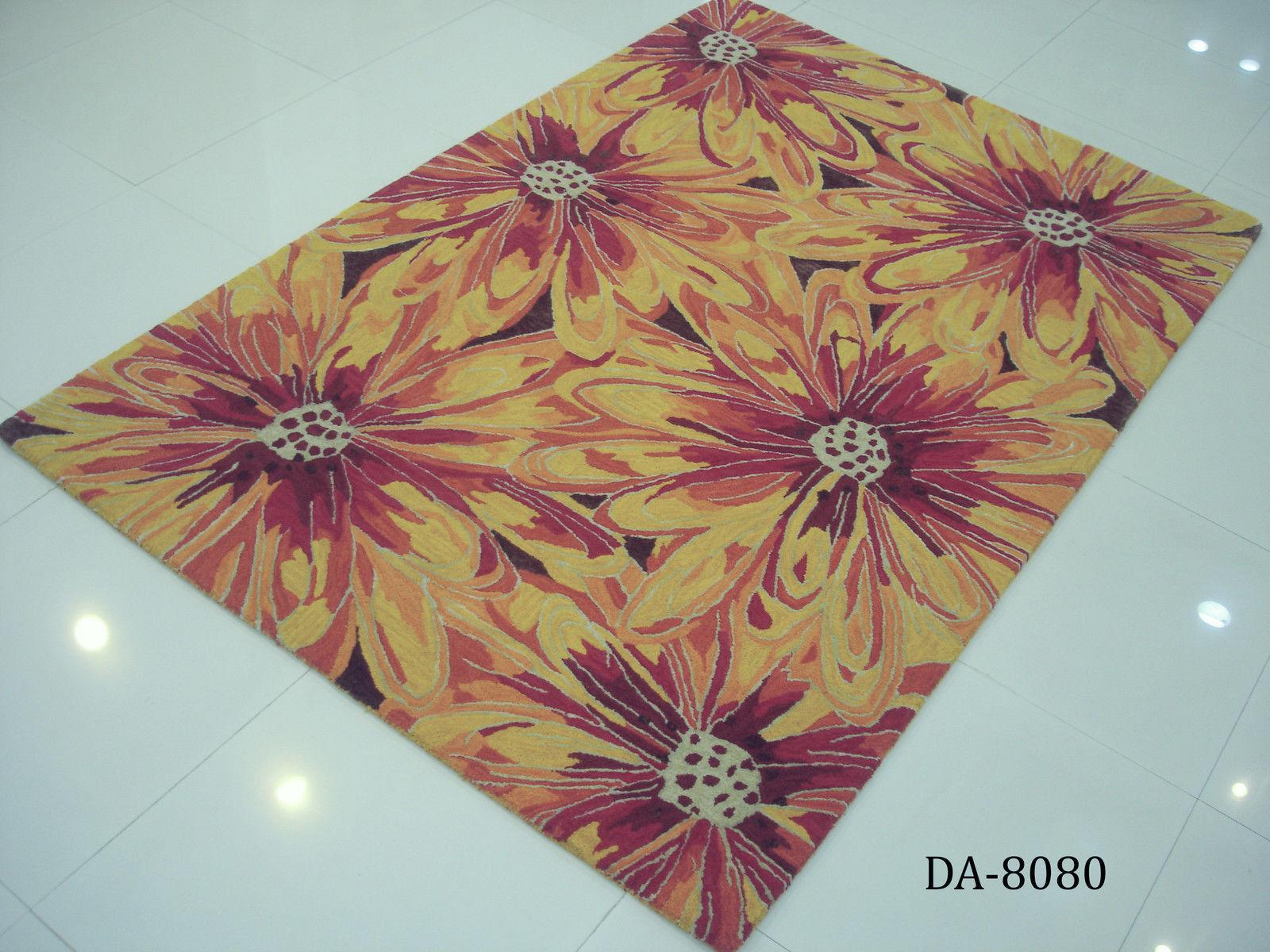 Designer Schurwollteppich, 100 100 100 % Schurwolle, Blaumenmotiv, ca. 160 x 230 cm 19c392