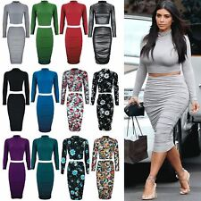 141d3b73a item 3 Womens Long Sleeve Ladies Bodycon Crop Top Pencil Midi Skirt Co-Ord  Set 2 Piece -Womens Long Sleeve Ladies Bodycon Crop Top Pencil Midi Skirt Co -Ord ...