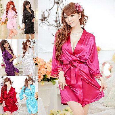Women Sexy Lace Nightdress Sleepwear Lingerie Bathrobes Gown Kimono Robe Top