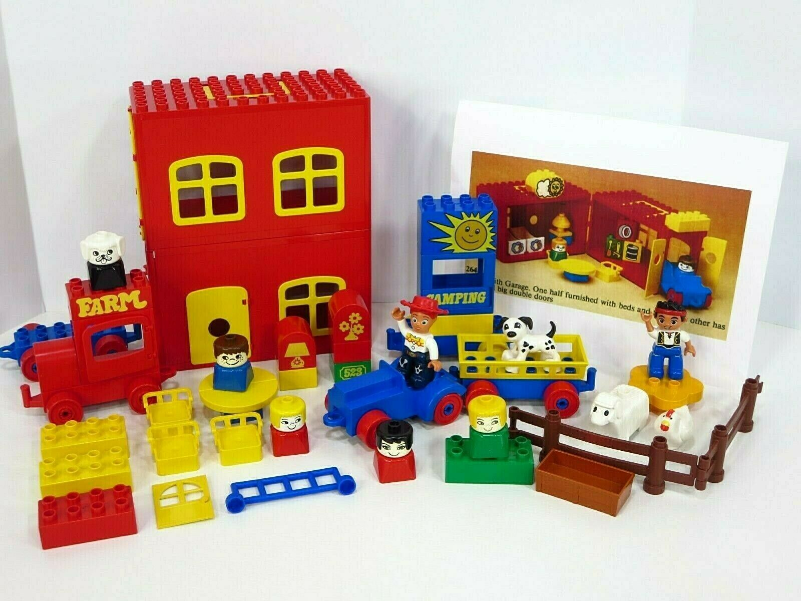 Lego Duplo Farm Vintage Lot 70s Animals Tractor 1979 rot Gelb House w  Handle