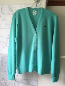 52fe54026fae1 Details about Vintage Izod Lacoste Womens Cardigan Sweater Green Sz M Made  in USA Acrylic
