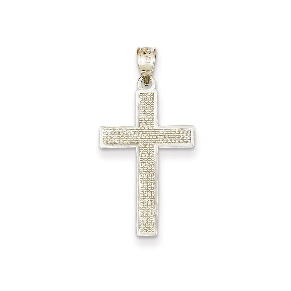 14K White gold Polished & Textured Christianity Latin Cross Religious Pendant
