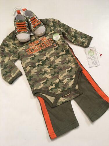 Baby Gear Boy 3 Piece Layette Set Bodysuit Pants Shoes Size 3 6 9 Months Camo