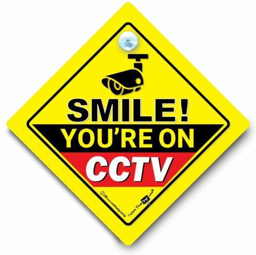 Camera Car Sign Car Security Sign Smile You/'re On CCTV Car Sign Dash Cam Sign