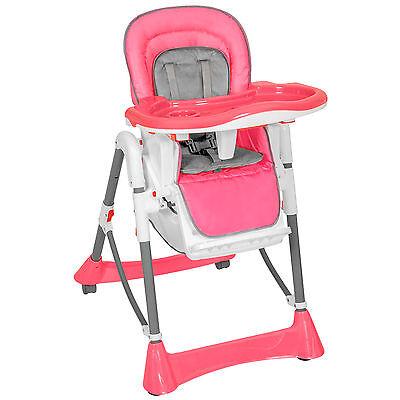 Chaise haute pour bébé enfant grand confort pliable blanc rose