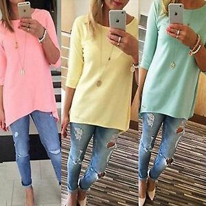 DONNA-MANICA-3-4-Larga-T-shirt-Casual-lungo-maglia-maglione-tinta-unita