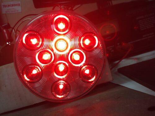 "2 Red 10 LED 4/"" Round Truck Trailer Brake S//T//T Lights W// Clear Len /& Brackets"