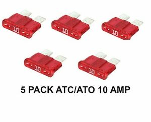 10 AMP ATC ATO FUSES ( 5 PACK ) 61131386627 N0171315 072581000304   RED 214810