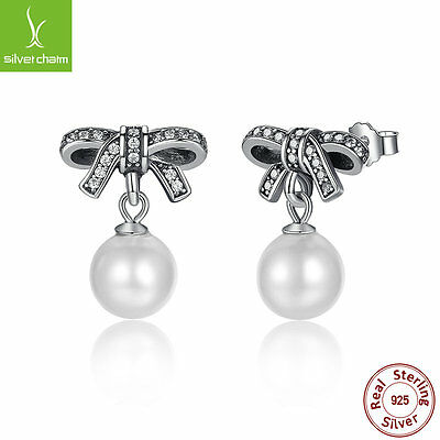 Authentic 925 Sterling Delicate Sentiment,White Pearl &Clear Dangle Stud Earring