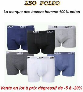 lot 6 24 boxer homme gar on marque leo poldo 100 coton. Black Bedroom Furniture Sets. Home Design Ideas