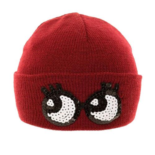 Womens//Ladies Novelty Sequin Eyes Winter Ski Hat HA495
