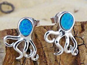 REAL-STERLING-SILVER-BLUE-OPAL-OCTOPUS-STUD-EARRINGS