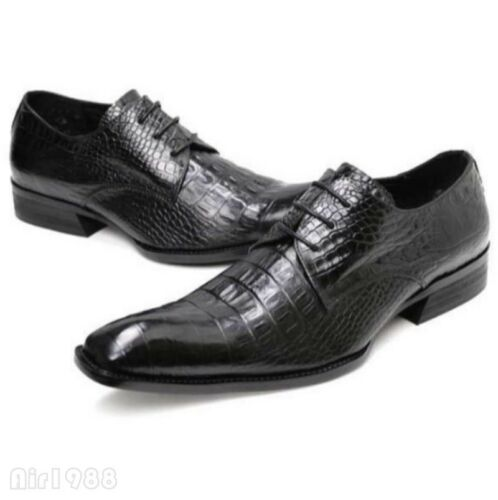Chic Mens Lace Up Square Toe Business Leather Dress Oxford Shoes Brogues Black