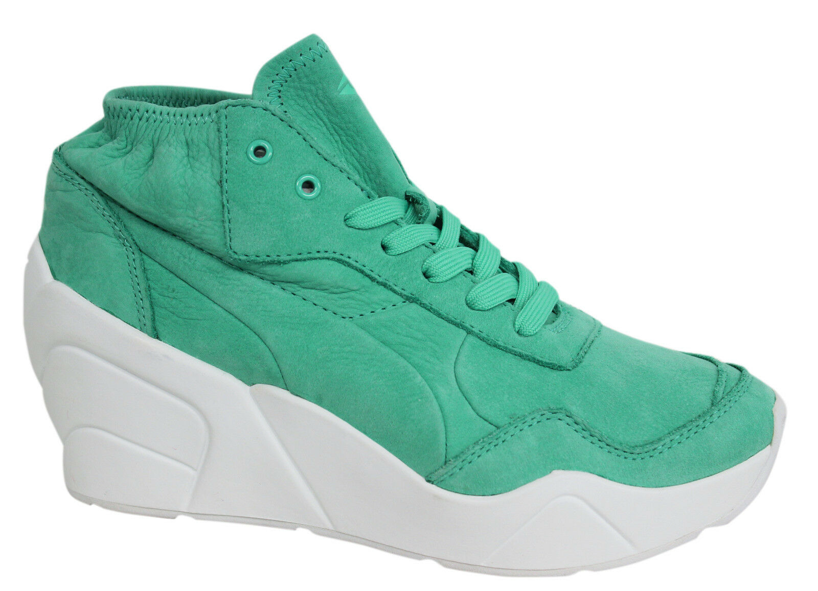Puma Womens Lace Up Trinomic Green Wedge Leather Trainers 356378 04 M3 Great discount