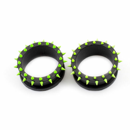 Silicone Tunnels Plugs With Silicone Spikes Double Flared Set Of 2