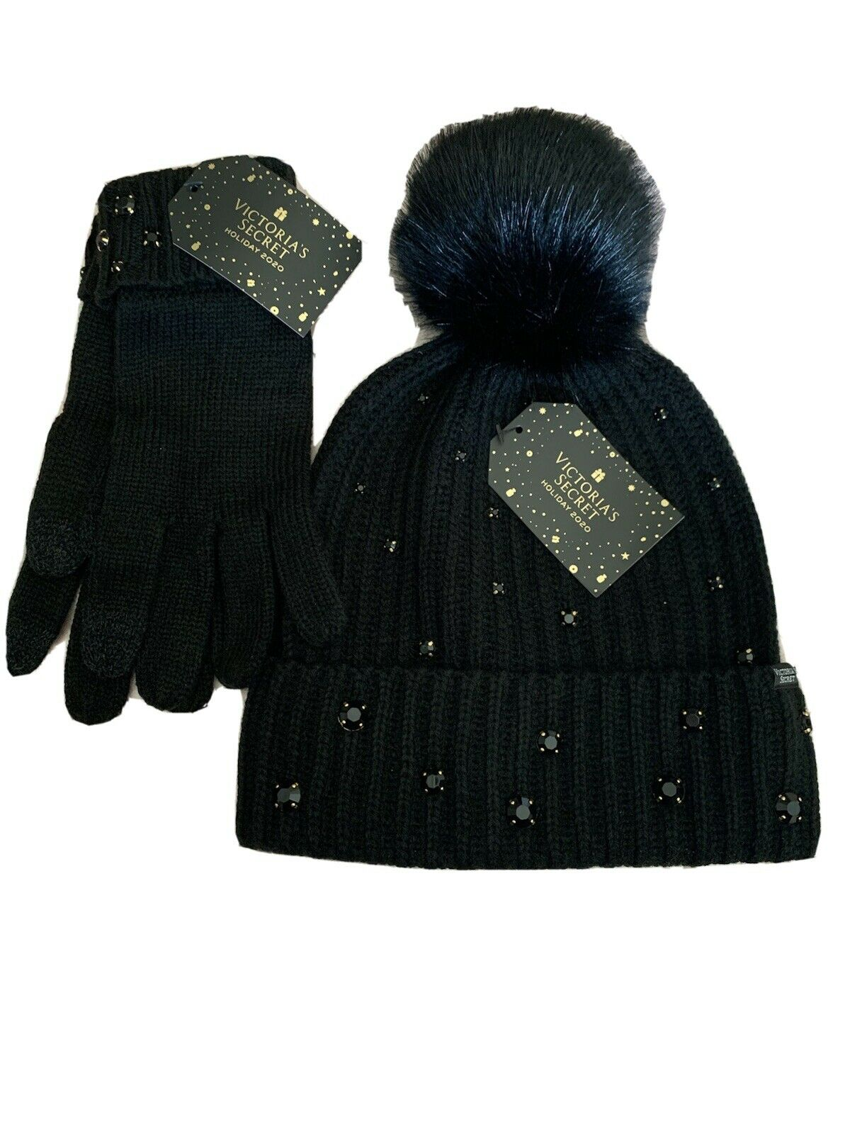Victoria Secrets Black 2020 Pom-Pom Hat & Glove Set NEW
