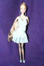 BARBIE DOLL - Aqua Blue Halter Dress Up Mini Ruffles Fur Wrap - LOOSE