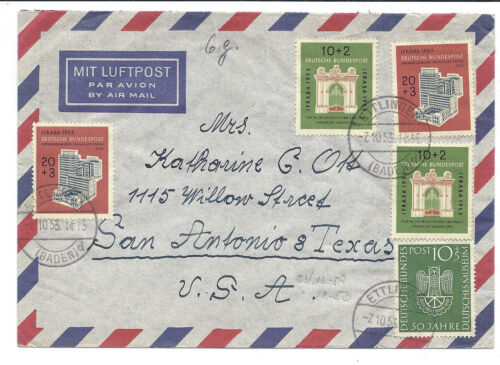 1953 Germany Air Mail Cover Baden US Zone to Texas SC B332B333 MI 171172