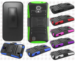 For-Straight-Talk-ZTE-Majesty-796C-Combo-Holster-HYBRID-KICK-STAND-Rubber-Case