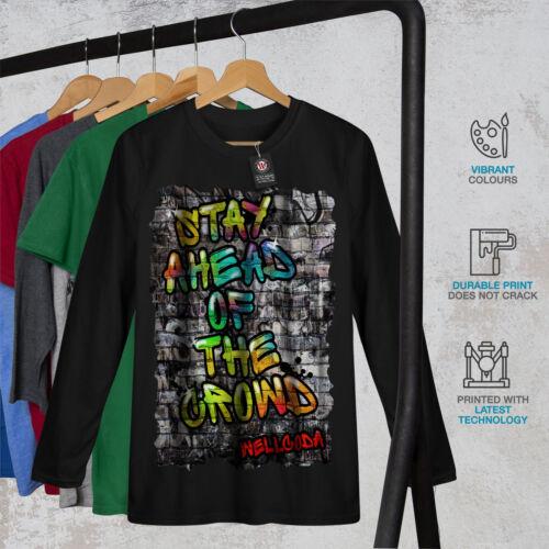 Wellcoda Stay Ahead Graffiti Mens Long Sleeve T-shirt Street Graphic Design