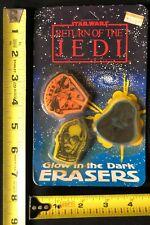 Vintage 1983 Star Wars ROTJ Glow in the Dark Erasers New /& Sealed