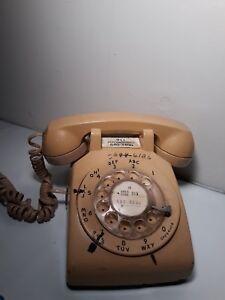 Vintage-Bell-Rotary-Dial-Telephone-Desk-Phone-Tan-Brown-Beige