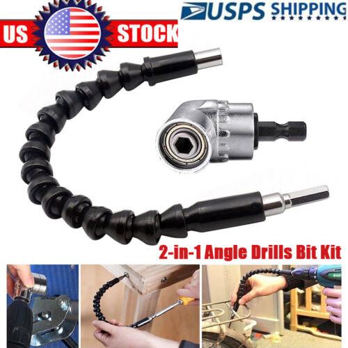 105 Angle 1/4 6mm Extension Hex Drill Bit Screwdriver Socket Holder Adaptor Kit