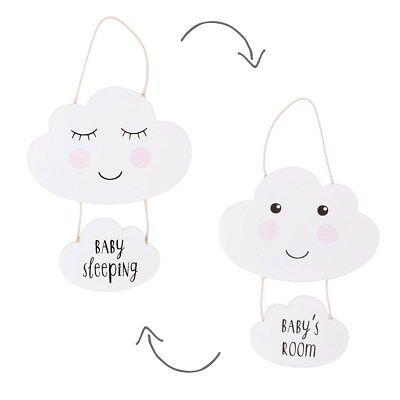Serio Nuovo Reversibile Baby's Room Bambino A Letto Nuvola Placca In Legno Bianco Sass & Belle- Paghi Uno Prendi Due