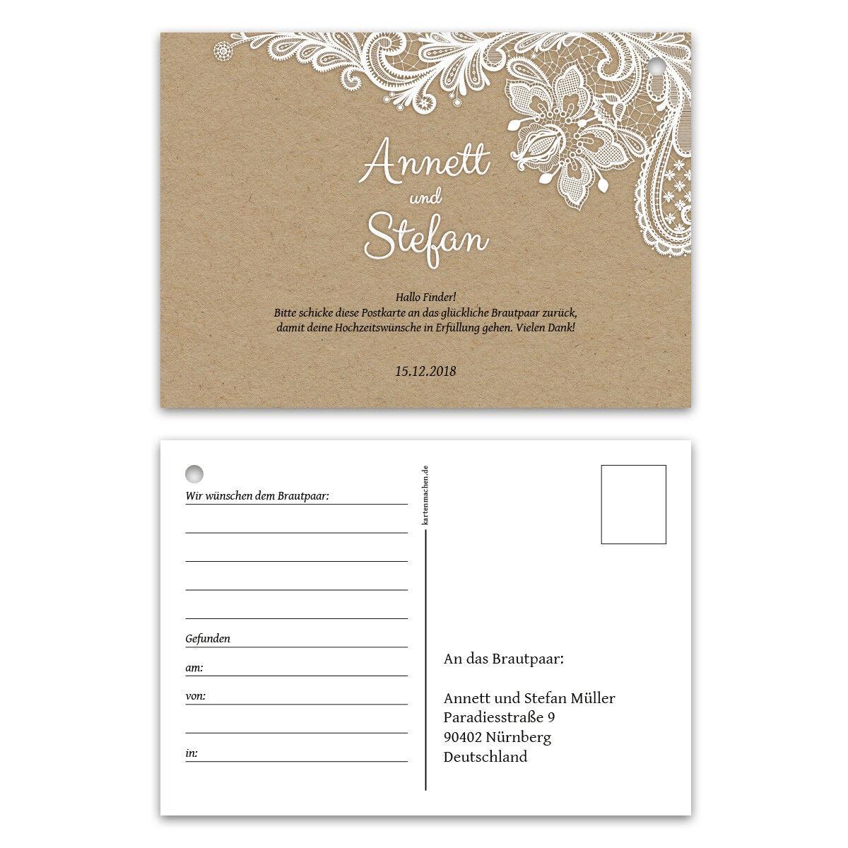 Ballonkarten Hochzeit extra leichte Ballonflugkarten - Rustikal Kraftpapier Look