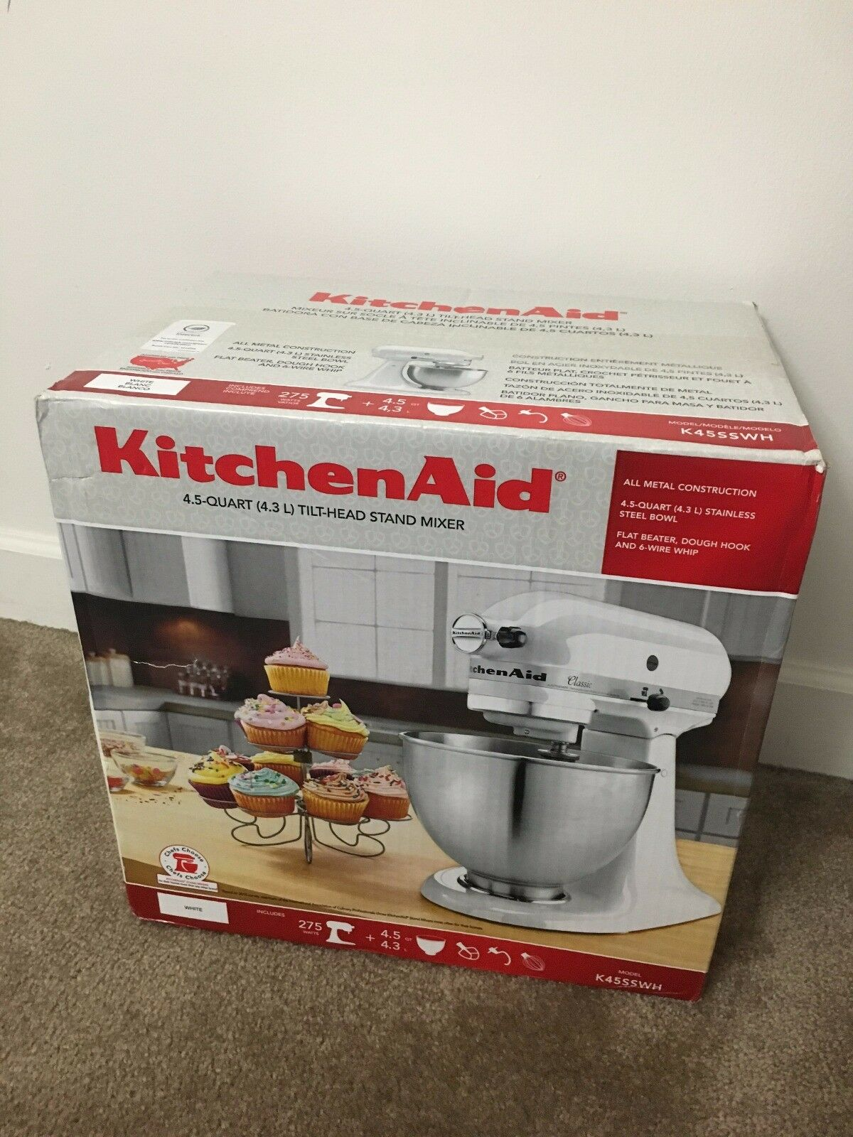 KitchenAid 4.5 Quart Tilt-Head Stand Mixer blanc Model K45SSWH NEW Original Box