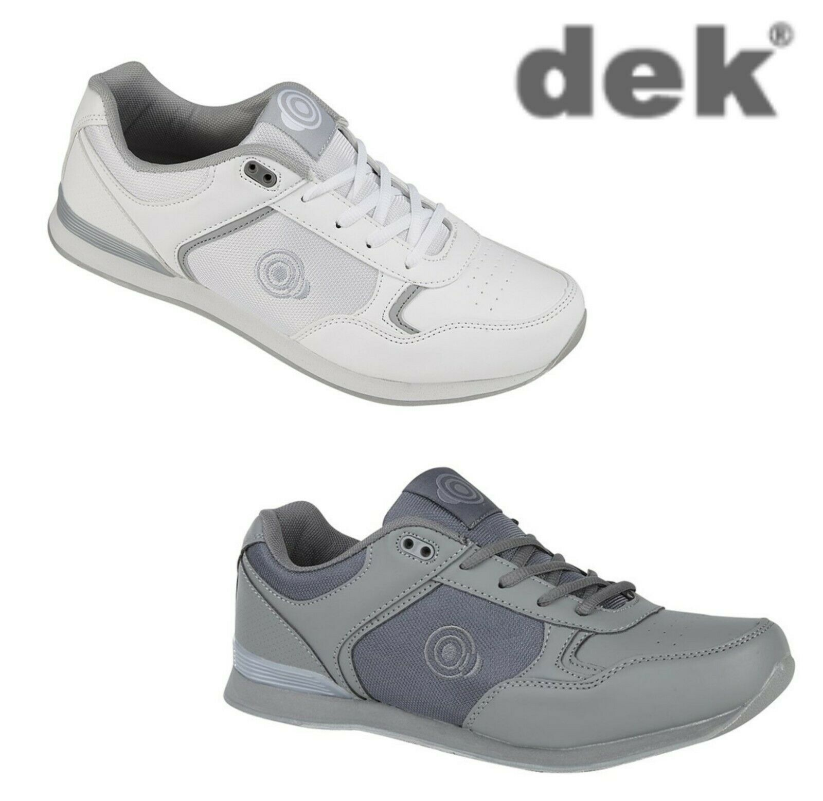 Mens Lace Up Trainer-Style Bowling shoes Grey  White Size 3 4 5 6 7 8 9 10 11 12