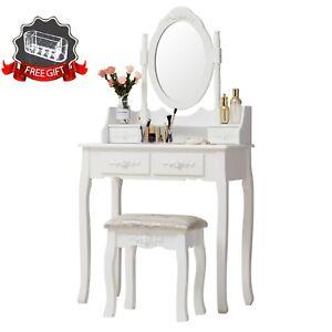 Image Is Loading Vanity Makeup Dressing Table Set 360 Spinning Mirror