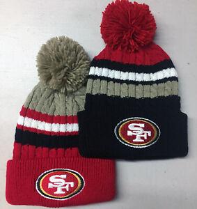 San-Francisco-49ers-Pom-Pom-Beanie-Skull-Cap-Hat-Embroidered-SF