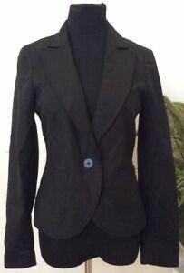 NWT-Cynthia-Rowley-Women-039-s-Career-Black-Cotton-Blend-Blazer-Jacket-Size-M