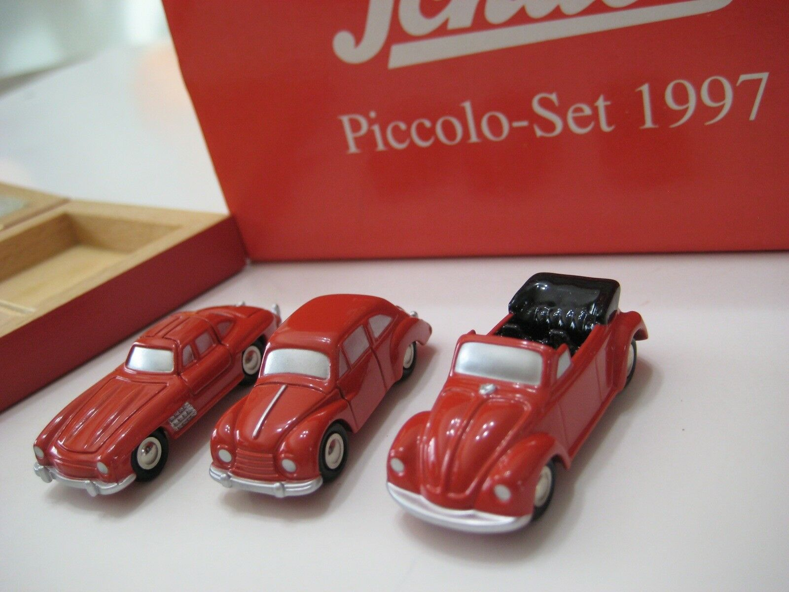 Schuco Piccolo-Set 1997 (Germany) Red Volkswagen, DKW & Mercedes-Benz 1 90 NIB